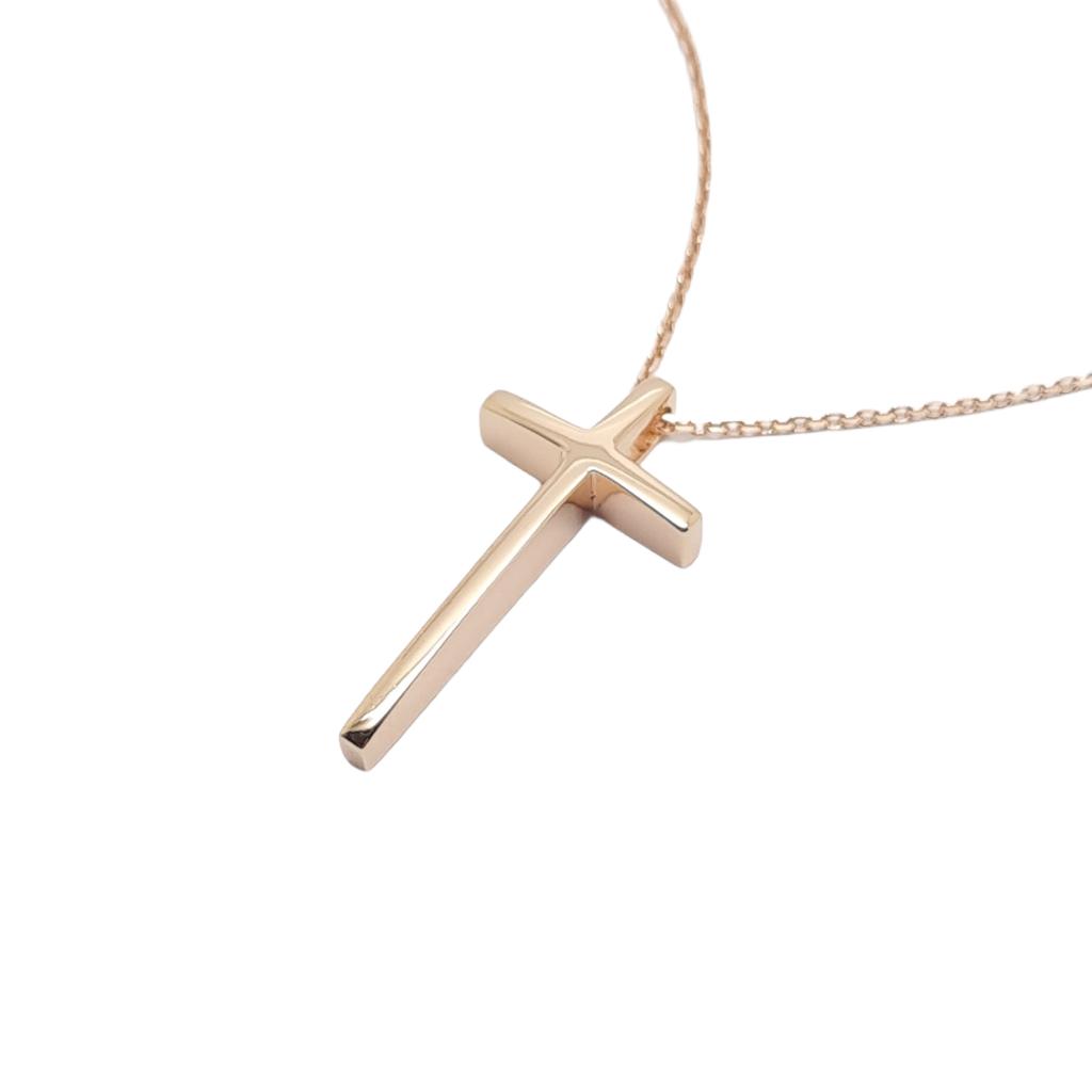Σταυρός σπαθάκι απο ροζ χρυσό κ14 (code H2214)