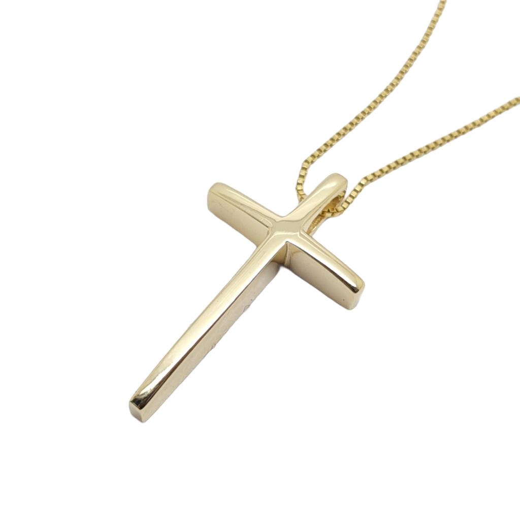 Σταυρός σπαθάκι (με αλυσίδα) απο χρυσό κ14 (code H2255)
