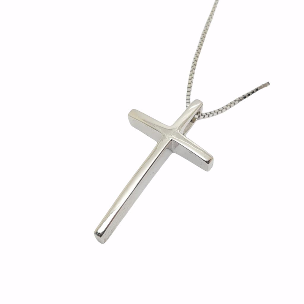 Σταυρός σπαθάκι (με αλυσίδα) απο λευκό χρυσό κ14 (code H2256)