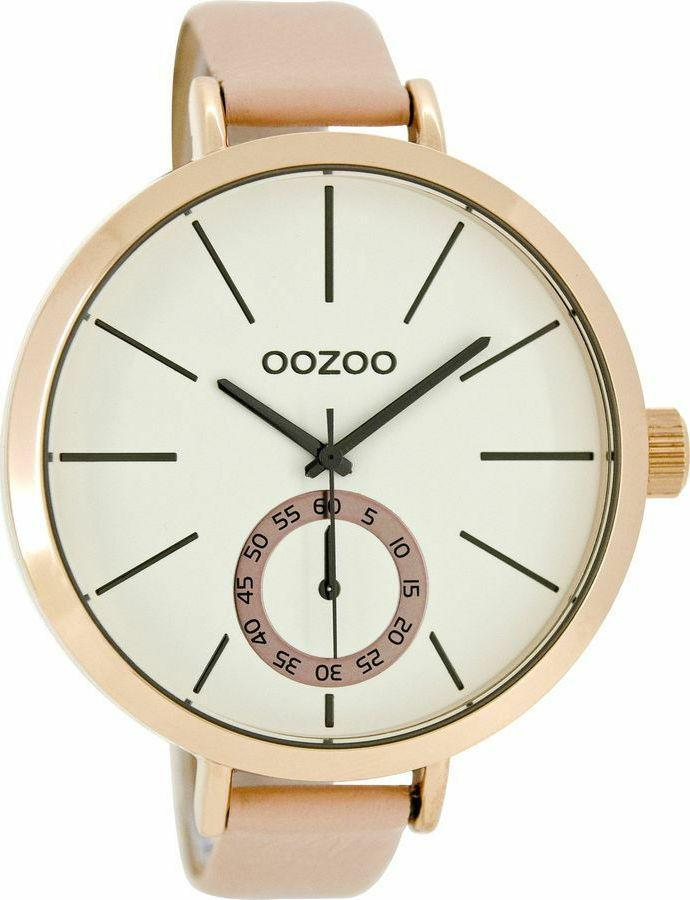 OOZOO XXL Timepieces Rose Gold Pink Leather Strap C8316